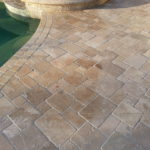 Travertine tiles pool deck